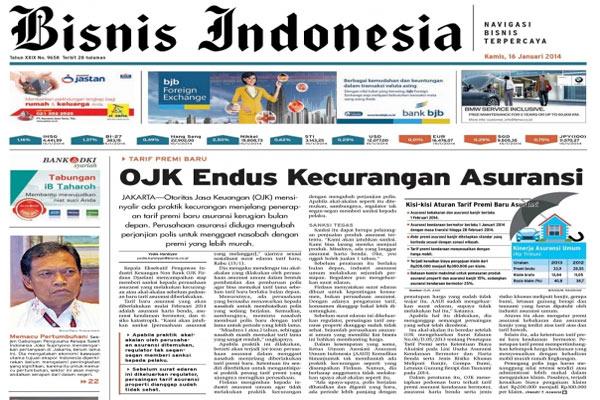 Bisnis Indonesia edisi cetak Sabtu (15/2/2014) – Seksi Utama