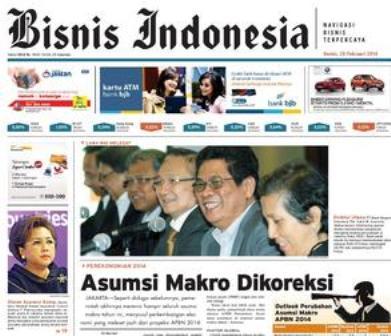 Bisnis Indonesia edisi cetak Kamis, (20/2/2014), Seksi Utama