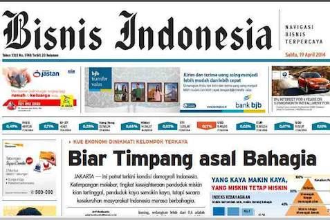 Bisnis Indonesia Edisi Cetak Sabtu (19/4/2014) Seksi Utama