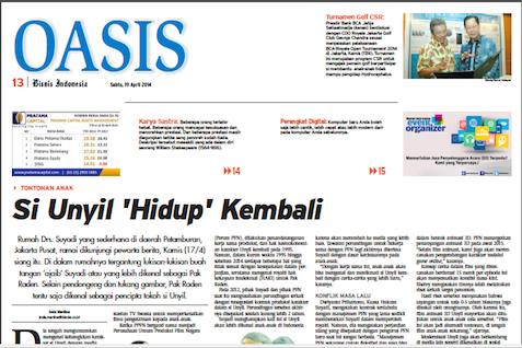 Bisnis Indonesia Edisi Cetak Sabtu (19/4/ 2014) Seksi Oasis