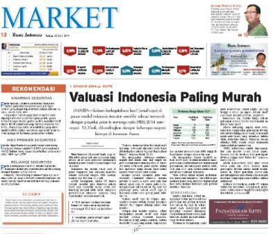 Bisnis Indonesia edisi cetak Selasa (22/4/2014), Seksi Market