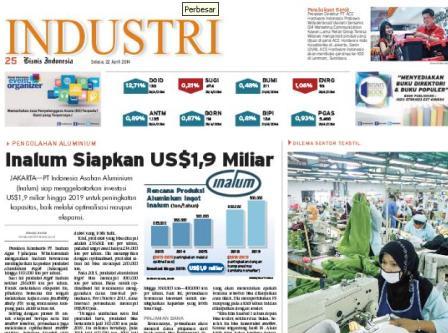 Bisnis Indonesia edisi cetak Selasa (22/4/ 2014), Seksi Industri