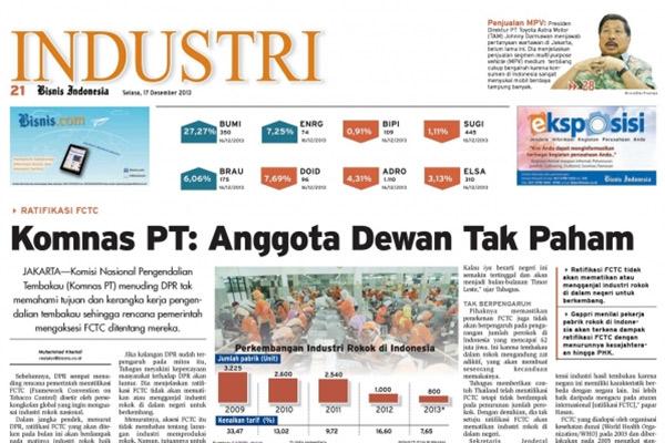 Headline Bisnis Indonesia, Senin  (28/4) Seksi Industri