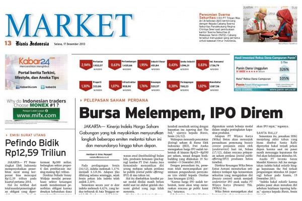Headline Bisnis Indonesia Senin (28/4) Seksi Market
