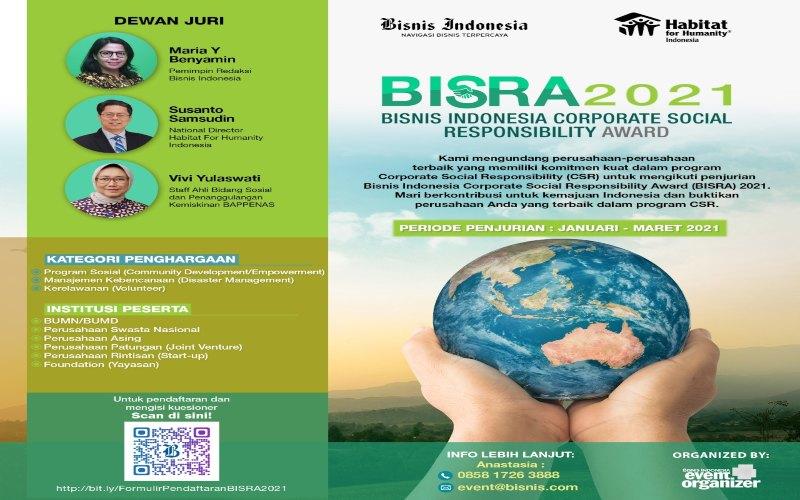 BISNIS INDONESIA CORPORATE SOCIAL RESPONSIBILITY AWARD 2021 : Kualitas CSR Harus Ditingkatkan
