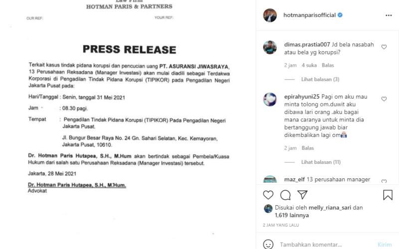 hotman paris wakili salah saru dari 13 manaje rinvestasi dalam perkara dugaan korupsi pt asuransi jiwasraya
