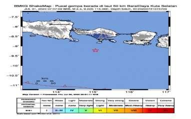 Gempa Magnitudo 4,4 Guncang Kuta Bali