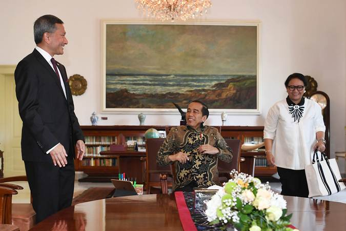 Presiden Jokowi Menerima Kunjungan Menlu Singapura Vivian Balakrishnan