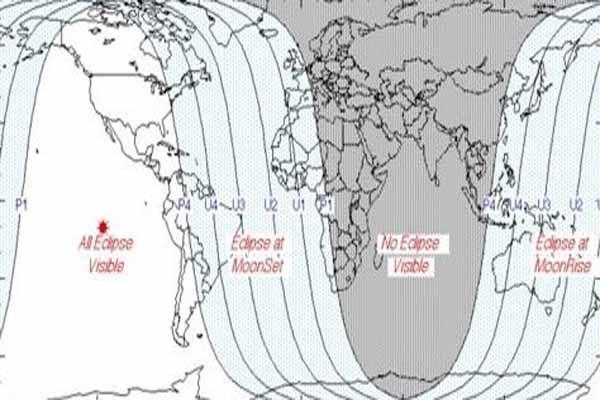 Tempat yang dapat menyaksikan gerhana bulan total dan gerhana bulan sebagian - timeanddate.com