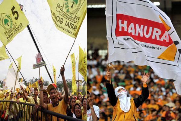 Suasana kampanye Parta Golkar, dan Partai Hati Nurani Rakyat (Hanura)  - bisnis.com
