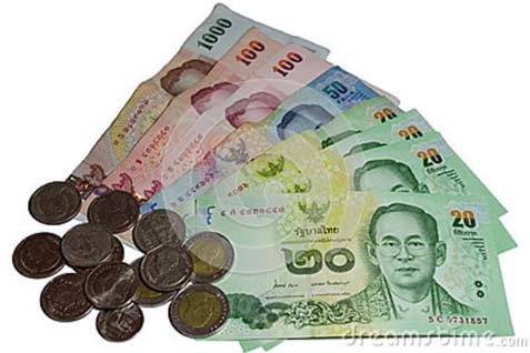Mata uang Bath. Bank sentral Thailand mempertahankan suku bunga tetap - Dreamstime