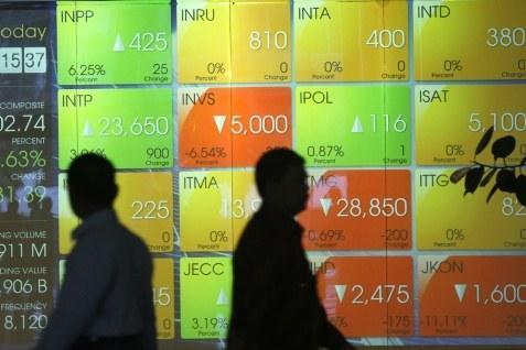 IHSG pada perdagangan Kamis (24/4/2014) ditutup melemah 0,04% ke level 4.891,08.  -  Bisnis.com