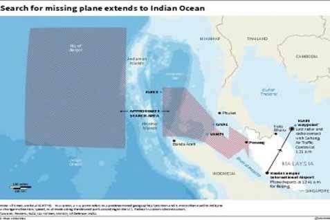 Peta pencarian MH370 di Samudera Hindia - Reuters