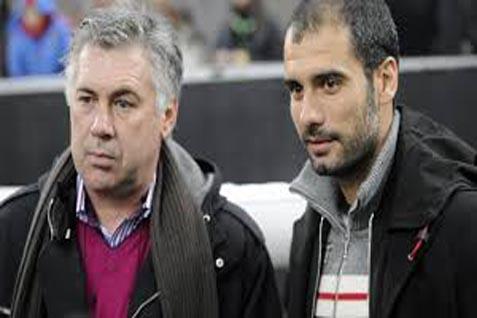 Pelatih Real Mardid Carlo Ancelotti (kiri) dan pelatih Bayern Munchen Josep 'Pep' Guardiola - Bein Sport 3