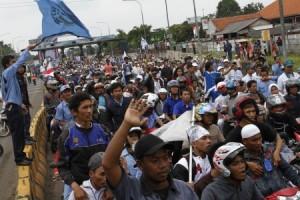 Ilustrasi/Aksi demo buruh di Jabar