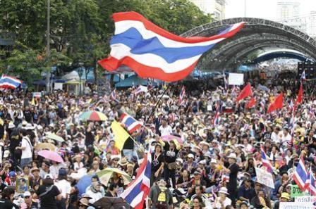 Ilustrasi: Salah satu aksi unjuk rasa di Thailand - Reuters