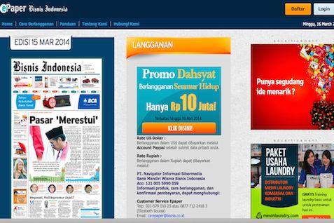 Dapatkan Epaper Bisnis Indonesia Via 29 Atm Internet Banking Mandiri Bca Bni Permata Teknologi Bisnis Com