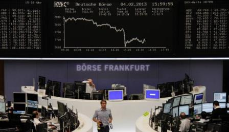 Ilustrasi: Bursa Efek Frankfurt - Reuters/Remote/Janine Eggert