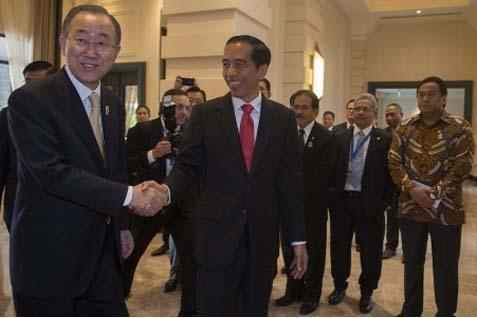 Presiden RI Jokowi & Sekjen PBB Ban Ki-moon di KTT Asean - Antara