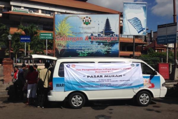 Pasar murah diadakan TPID Bali di area Pasar Badung Denpasar. - Bisnis/Natalia Indah Kartiningrum