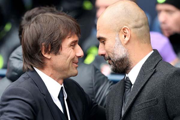 Pelatih Chelsea Antonio Conte (kiri) dan pelatih Manchester City Pep Guardiola - Sky Sports