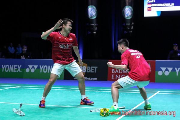 Ganda putra Kevin Sanjaya Sukamuljo-Marcus Fernaldi Gideon - Badminton Indonesia