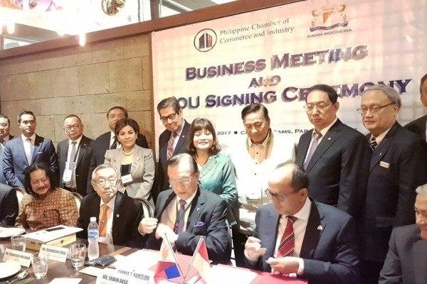 KADIN Indonesia tandatangani MoU dengan KADIN Filipina (PCCI) di Manila, Filipina, Jumat 28 April 2017.