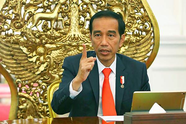 Presiden Joko Widodo saat menerima Tim Redaksi Bisnis Indonesia di Istana Merdeka Jakarta, Senin (10/7). - JIBI/Dwi Prasetya