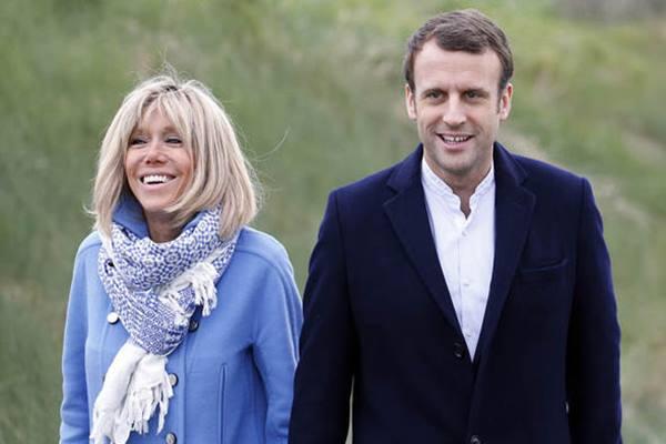 Presiden Prancis Emmanuel Macron menikahi Brigitte Trogneux yang berusia 25 tahun lebih tua. - Istimewa