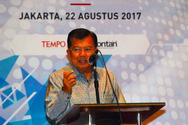 Wakil Presiden Jusuf Kalla saat membuka Kongres I Asosiasi Media Siber Indonesia - Dwi Prasetya