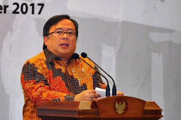 Menteri Perencanaan Pembangunan Nasional/Kepala Badan Perencanaan Pembangunan Nasional Bambang Brodjonegoro memberikan sambutan saat menghadiri Dialog Kebangsaan di Jakarta, Selasa (5/9). - JIBI/Dwi Prasetya
