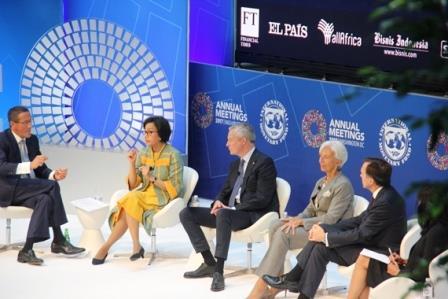 Rapat Tahunan Dana Moneter Internasional (IMF)-Bank Dunia 2017 di IMF Headquarters 1, Kamis (12/10/2017) - Bisnis Indonesia/Kurniawan A Wicaksoo