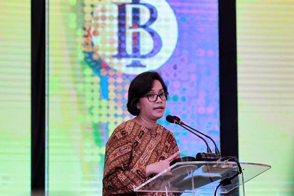 Menteri Keuangan Sri Mulyani Indrawati, memberikan sambutan saat acara sinergi Bank Indonesia dengan Polri di Jakarta, Jumat (17/11). - JIBI/Dwi Prasetya