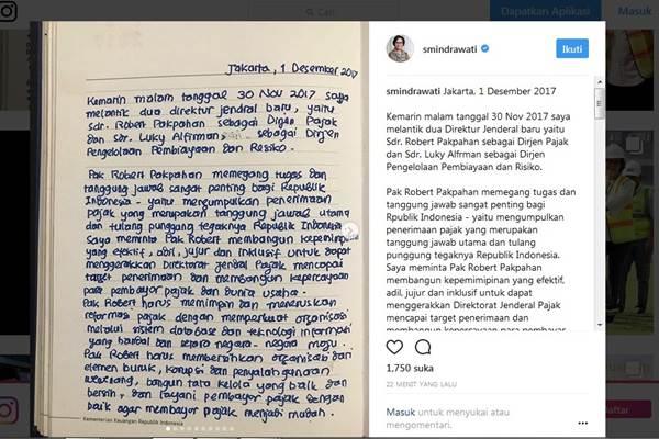 Sri Mulyani menuliskan pesan untuk Dirjen Pajak Robert Pakpahan lewat akun Instagramnya - Instagram @smindrawati