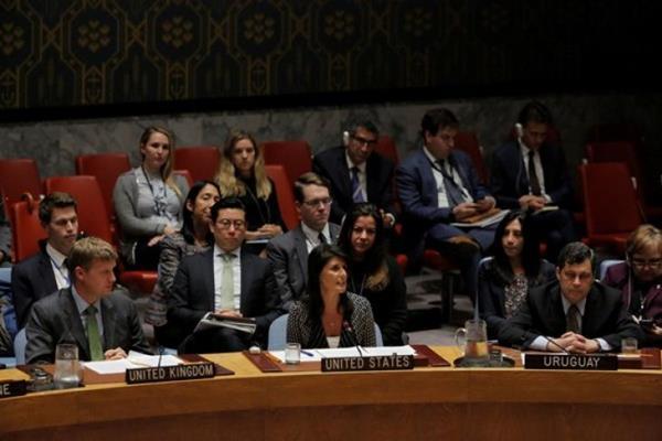 Duta Besar Amerika Serikat untuk PBB Nikki Haley berbicara dalam sebuah pertemuan Dewan Keamanan PBB tentang Korea Utara di markas besar PBB di New York City, Amerika Serikat, Selasa (29/8/2017). - Reuters