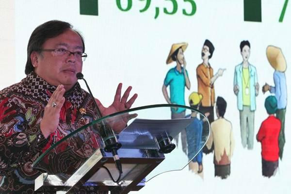 Menteri PPN/Kepala Bappenas Bambang P.S Brojonegoro menyampaikan sambutan pada Economic & Investment Outlook 2018 bertajuk Optimisme di Tahun Politik di Jakarta, Rabu (17/1/2018). - JIBI/Dedi Gunawan