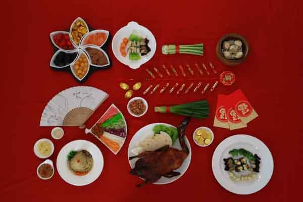 Delapan varian menu spesial khas imlek ditawarkan pada perayaan malam Imlek 2018 di the Shalimar Boutique Hotel Malang, Kamis (15/2/2018). Bisnis - Istimewa