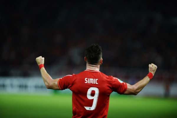 Striker Persija Jakarta Marko Simic selepas menjebol gawang klub Singapura Tamp;ines Rovers. - Antara/Akbar Nugroho Gumay