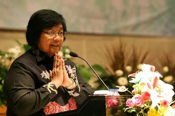 Menteri Lingkungan Hidup dan Kehutanan Siti Nurbaya Bakar saat menyampaikan sambutan pada workshop Hutan dan Deforestastasi Indonesia, di Jakarta, Senin (29/1/2018). - JIBI/Dedi Gunawan