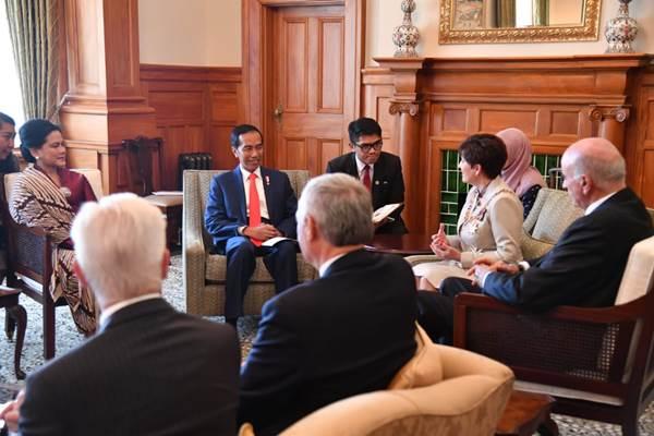 Presiden Joko Widodo saat pertemuan dengan Gubernur Jenderal Selandia Baru Dame Patsy Reddy di Goverment House, Selandia Baru (19/3/2018). - Biro Pers Setpres