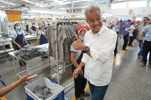 Ganjar Pranowo saat mengunjungi Pabrik Sritex di Sukoharjo. - Istimewa