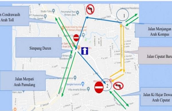 Peta uji coba sistem lalu lintas satu arah di Perempatan Duren, Ciputat, Tangerang Selatan. - Istimewa
