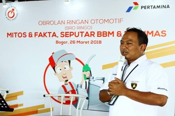 Manager External Communication PT Pertamina (Persero), Arya Dwi Paramita pada acara Obrolan Ringan Otomotif (Bro Ringgo) bertemakan