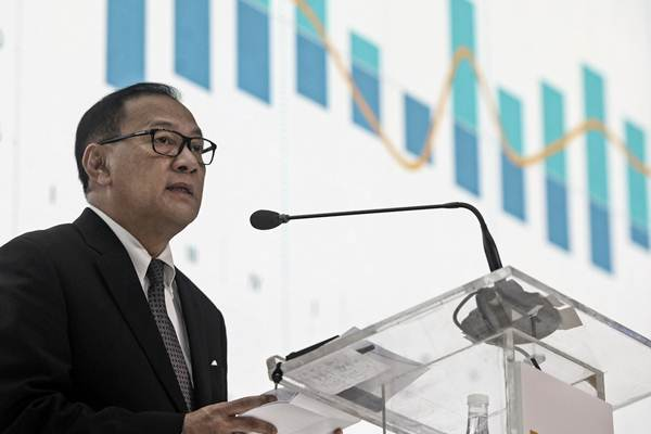 Gubernur Bank Indonesia Agus Martowardojo memberikan pandangannya pada acara Mandiri Investment Forum (MIF) 2018 di Jakarta, Rabu (7/2 - 2018).ANTARA/Muhammad Adimaja