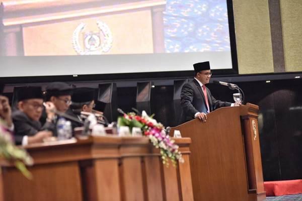 Anies Baswedan saat menyampaikan pidato perdana di DPRD DKI - Diskominfo dan Statistik Provinsi DKI Jakarta