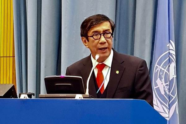 : Menteri Hukum dan HAM Yasonna H. Laoly saat menghadiri Conference of State Parties (COSP) United Nations Convention Against Corruption (UNCAC/Konvensi Perserikatan Bangsa-bangsa Anti-korupsi) ke-7 di Markas PBB Wina, Austria, Senin (6/11/2017)/Dok. KBRI - PTRI Wina