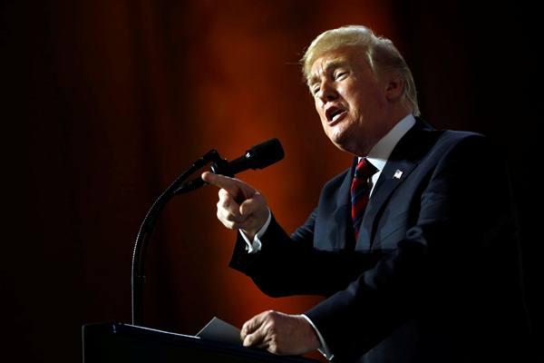 Presiden AS Donald Trump berbicara di acara Susan B. Anthony List 11th Annual Campaign for Life Gala di National Building Museum di Washington, AS, 22 Mei 2018. - Reuters