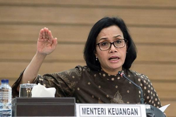 Menteri Keuangan Sri Mulyani Indrawati memberikan paparan saat konferensi pers realisasi Anggaran Pendapatan dan Belanja Negara (APBN) triwulan pertama 2018, di Jakarta, Senin (16/4/2018). - JIBI/Dwi Prasetya