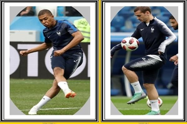 Dua pencetak gol terbanyak di tim Prancis --tiga gol-- Kylian Mbappe dan Antonie Griezmann - Reuters