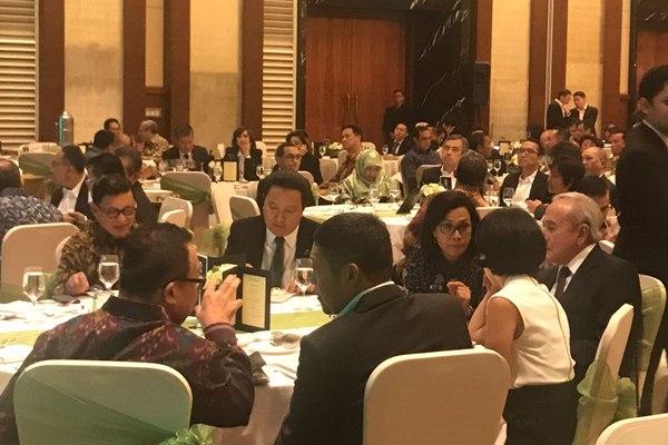 Menkeu Sri Mulyani saat menghadiri peringatan 10 tahun IPO Adaro di Jakarta, Senin (16/7 - 2018) malam.